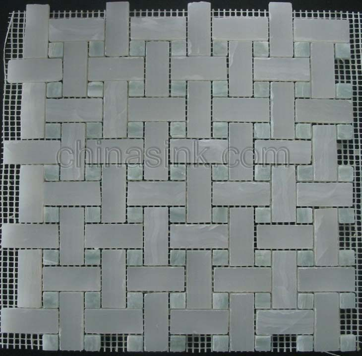 White Onyx And Blue Onyx Mosaic Tile Mosaic Tiles Blue Onyx