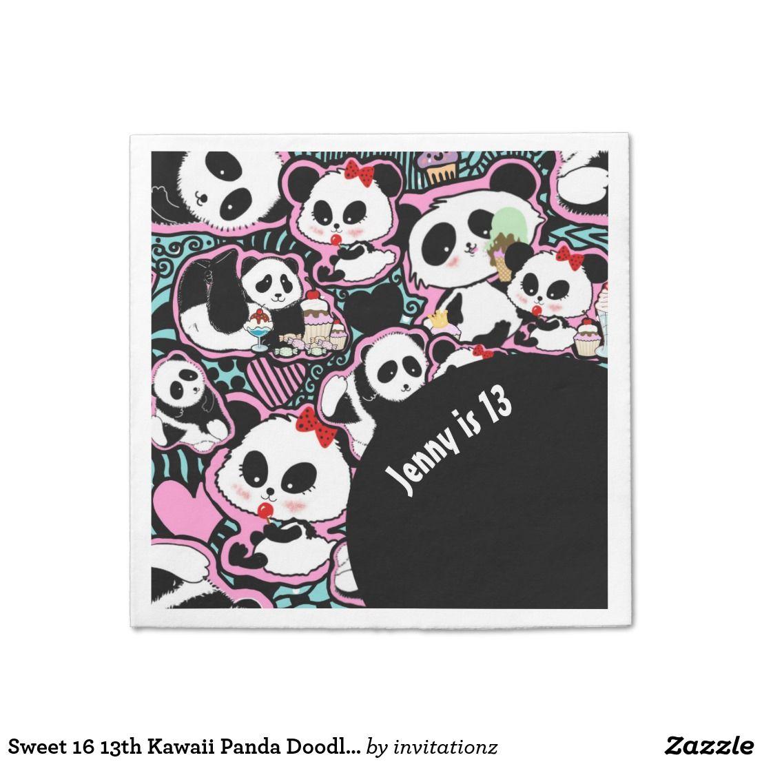 Sweet 16 13th Kawaii Panda Doodle Partyware