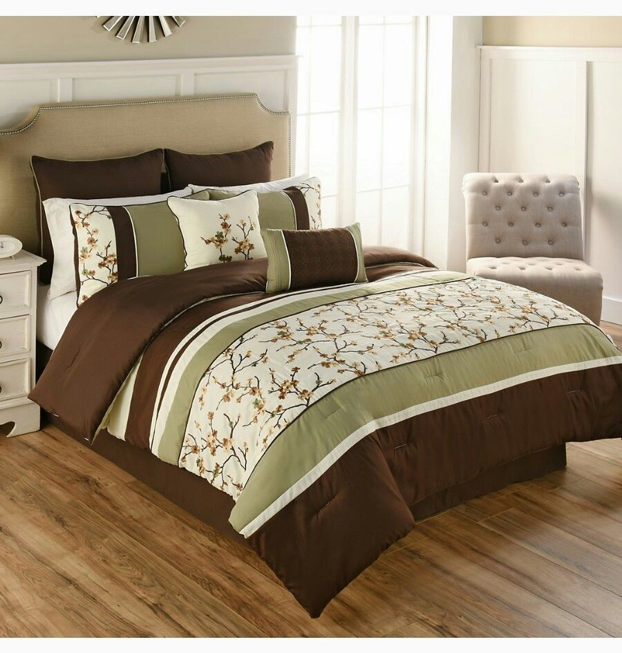 9 Piece Queen floral Embroidery Comforter Set Bedding Green/Brown ...