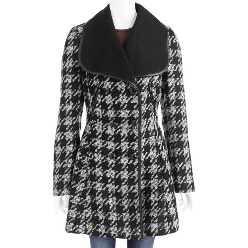 52e753102b6 Women s Plus-Size Houndstooth Wool-Blend Coat With Oversized Collar   Women s Plus   Walmart.com