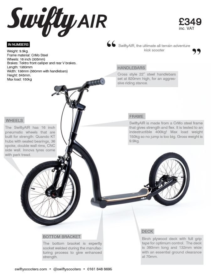 SwiftyAIR all terrain adult kick scooter | peddle power | Pinterest ...