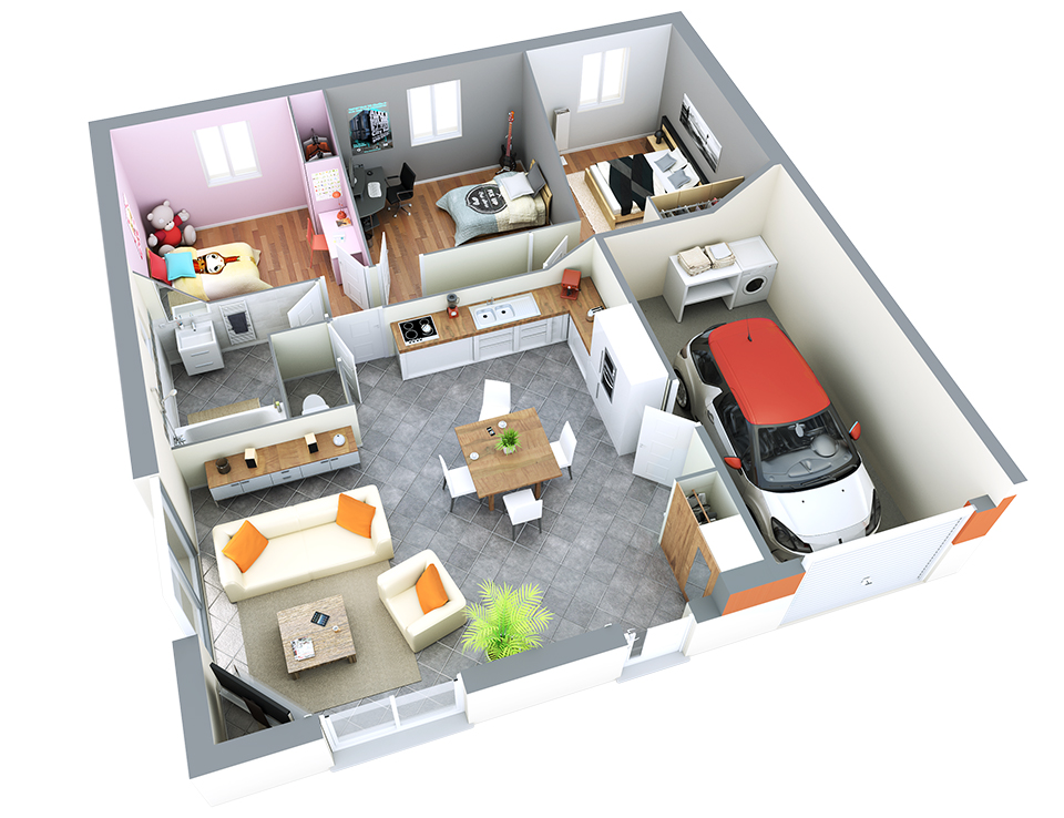 Maison petit budget une villa de 85 m am nagement et d co en 2019 plan maison maison et for Budget pour construire une maison neuve
