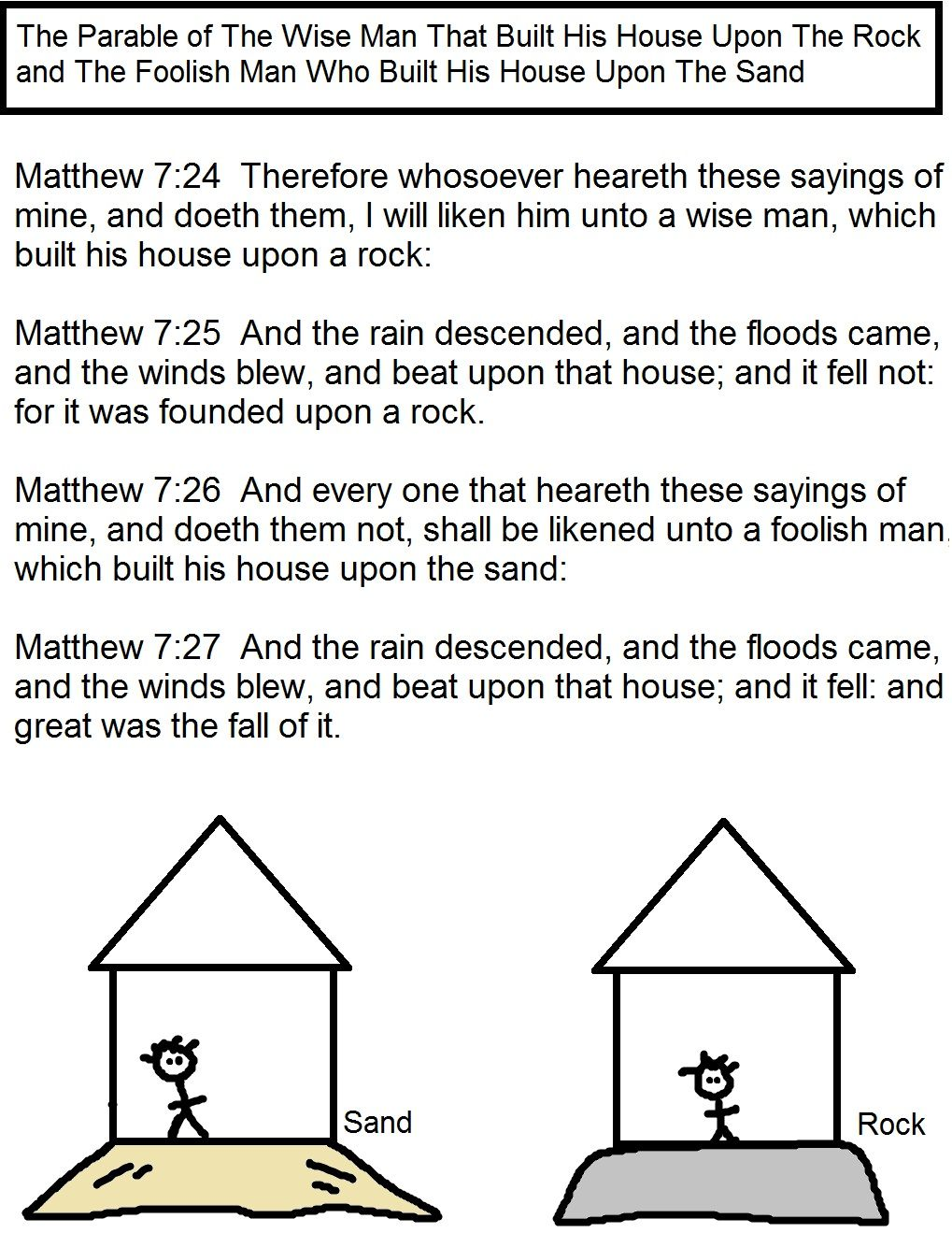 Matthew 7 24 The Man Who Built His House On The Rock Free