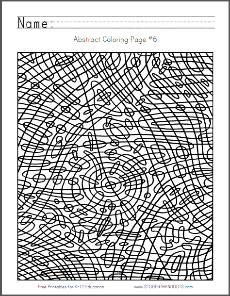 Abstract Coloring Page 6 Free To Print Pdf File Rounded
