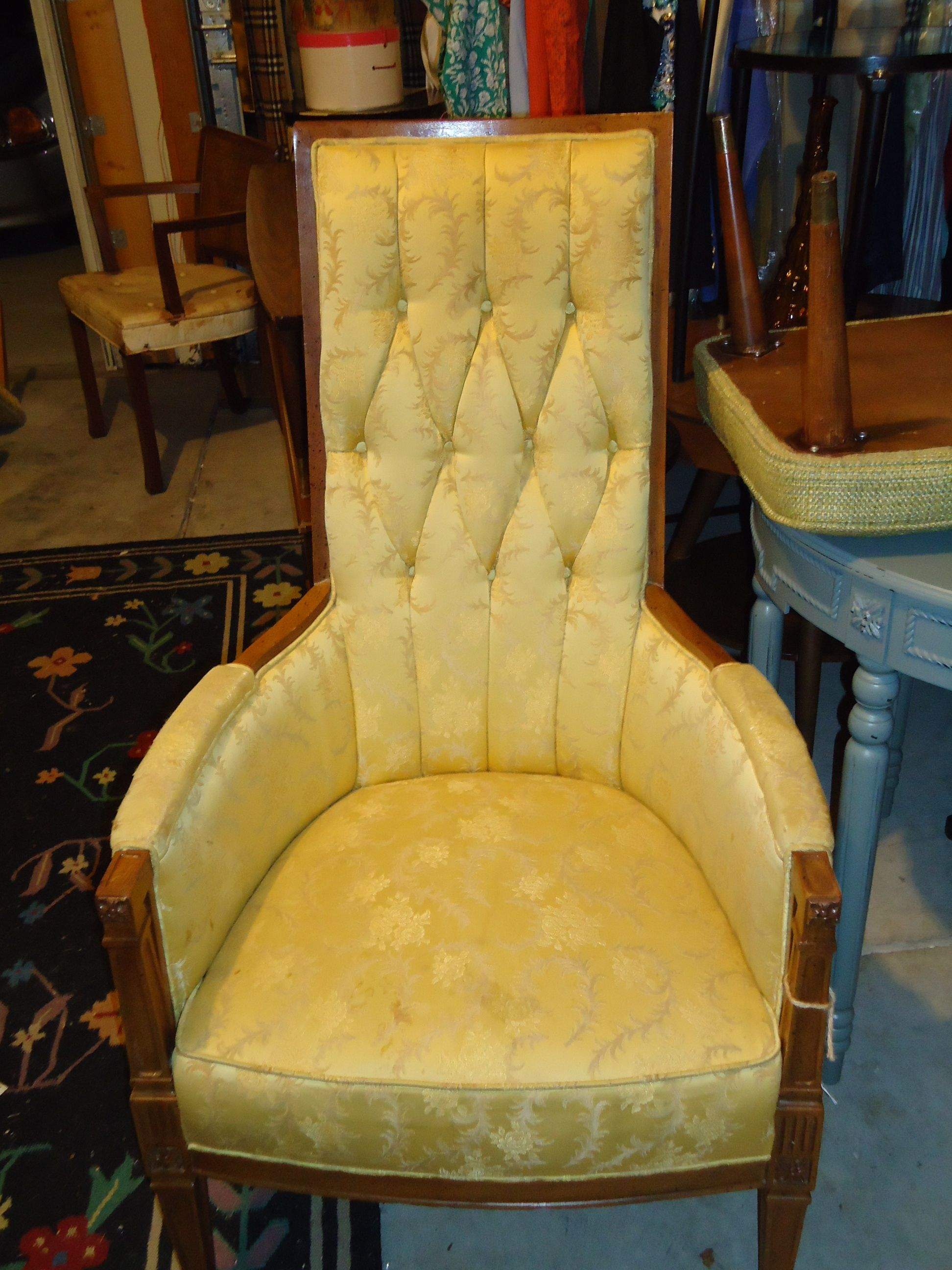 Vintage French High Back Chair Before Vintage chairs