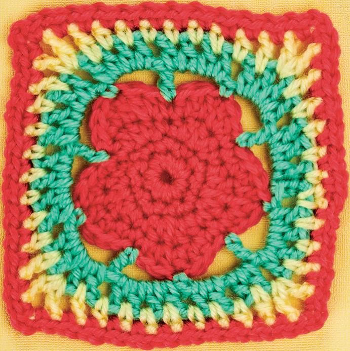 Red flower granny square ~ free pattern ᛡ | Crochet: Granny Square ...