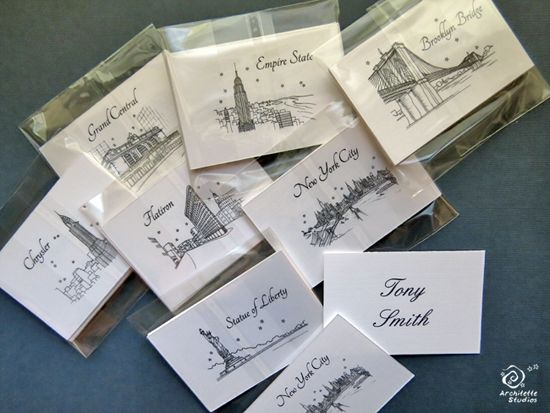 New York themed Escort Cards by Architette Studios | Wedding seating ...