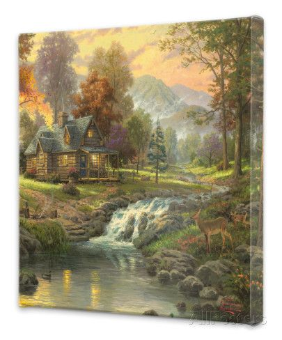 Mountain Retreat Stretched Canvas Print by Thomas Kinkade at AllPosters.com