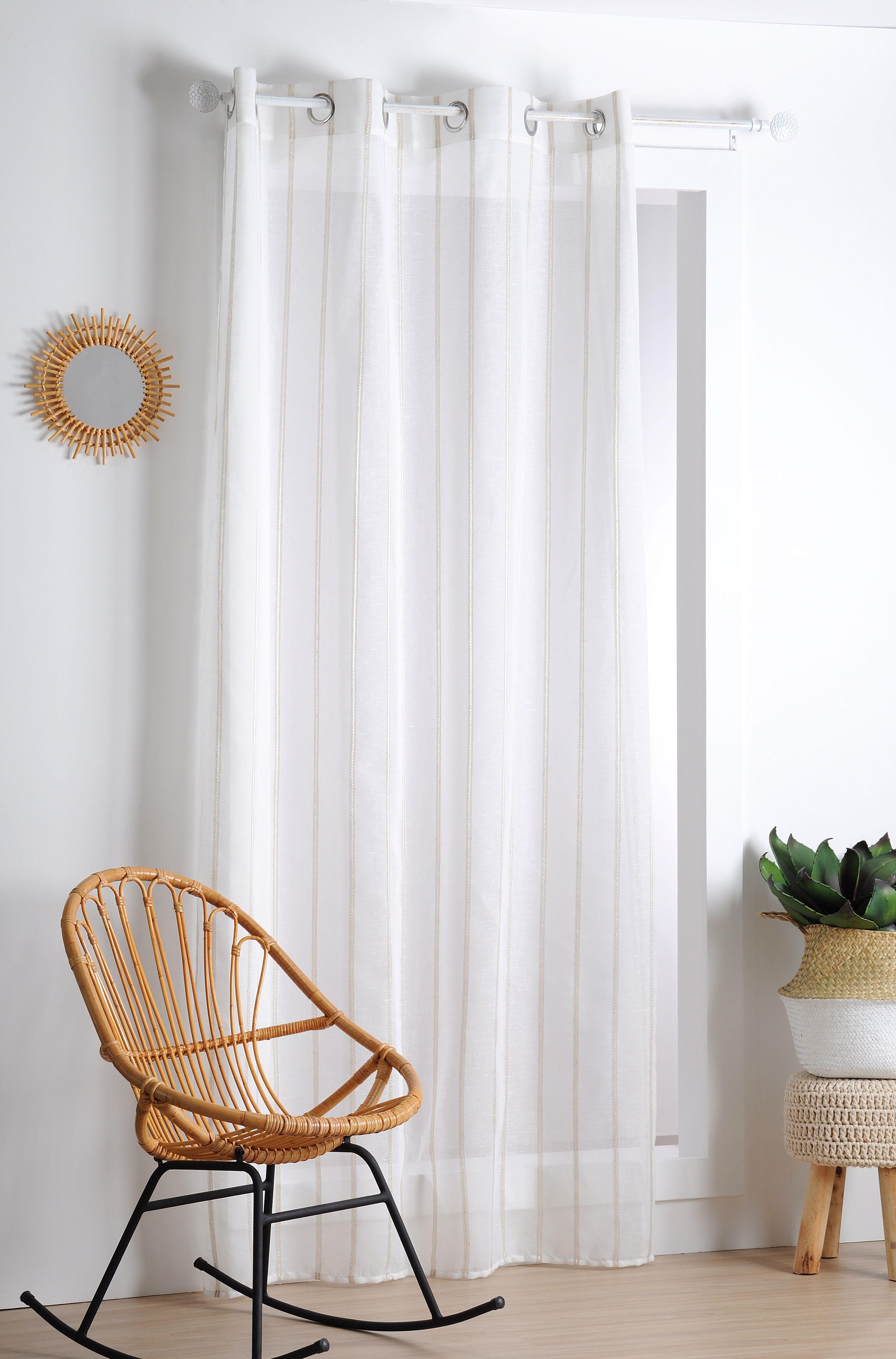 rideau voilage blanc rayures verticales