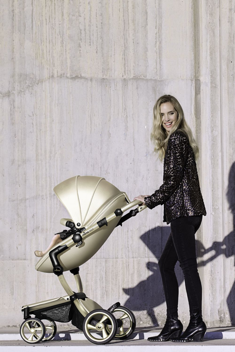 Mima Xari OneBox Stroller with Champagne Gold Chassis