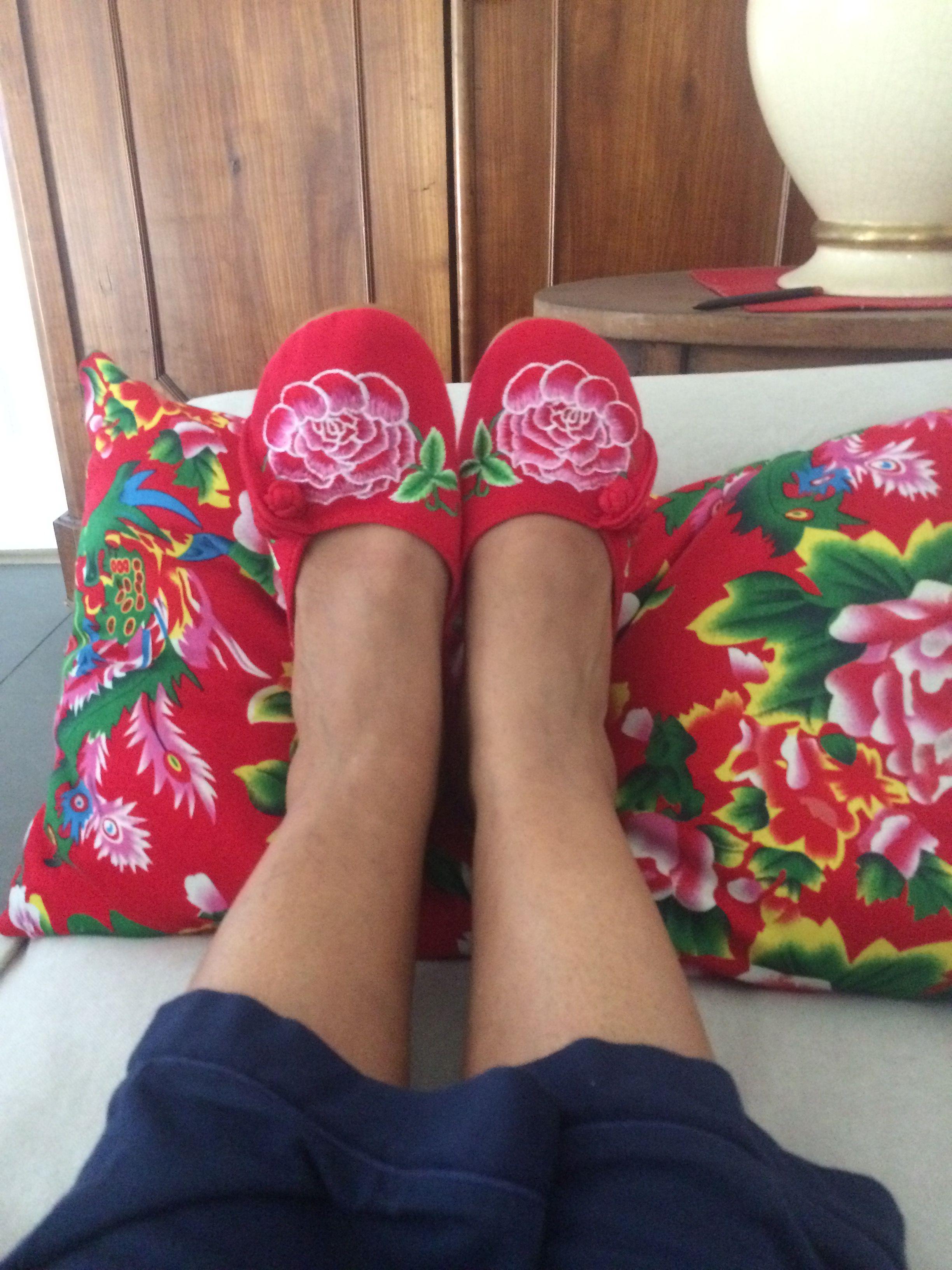 Et Maintenant Les Chaussons Chaussons Tissu Chinois Pivoine Rouge