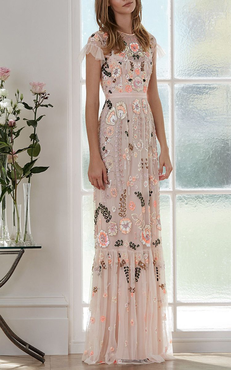 Pink Floral Embroidered Tiered Maxi Dress Tiered Maxi Dress Fashion Beautiful Dresses