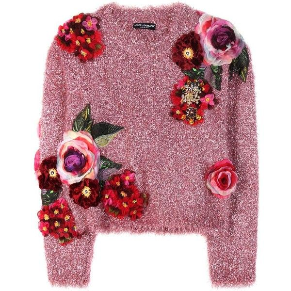 Pink metallic sweater with appliqué.