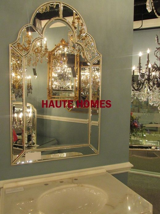 NEW STUNNING LARGE 42H ARCH VENETIAN SILVER MODERN BEVELED Wall