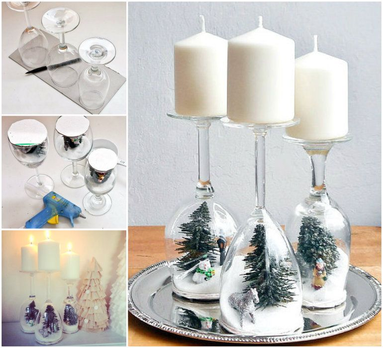 Christmas Decorations With Wine Glasses: Wine Glass Snow Globes