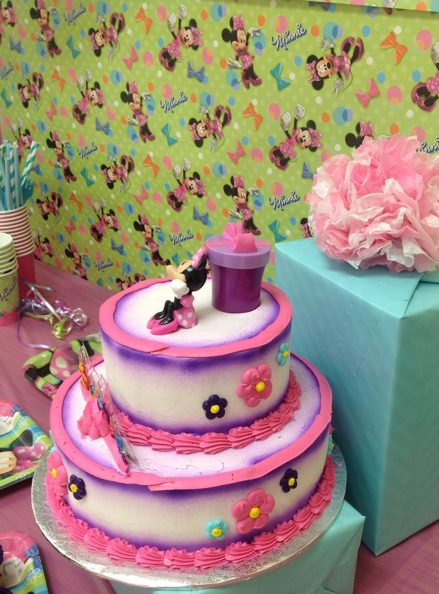 Breons 2 Tier Cake Made At Walmart Breons 1st Birthday Party