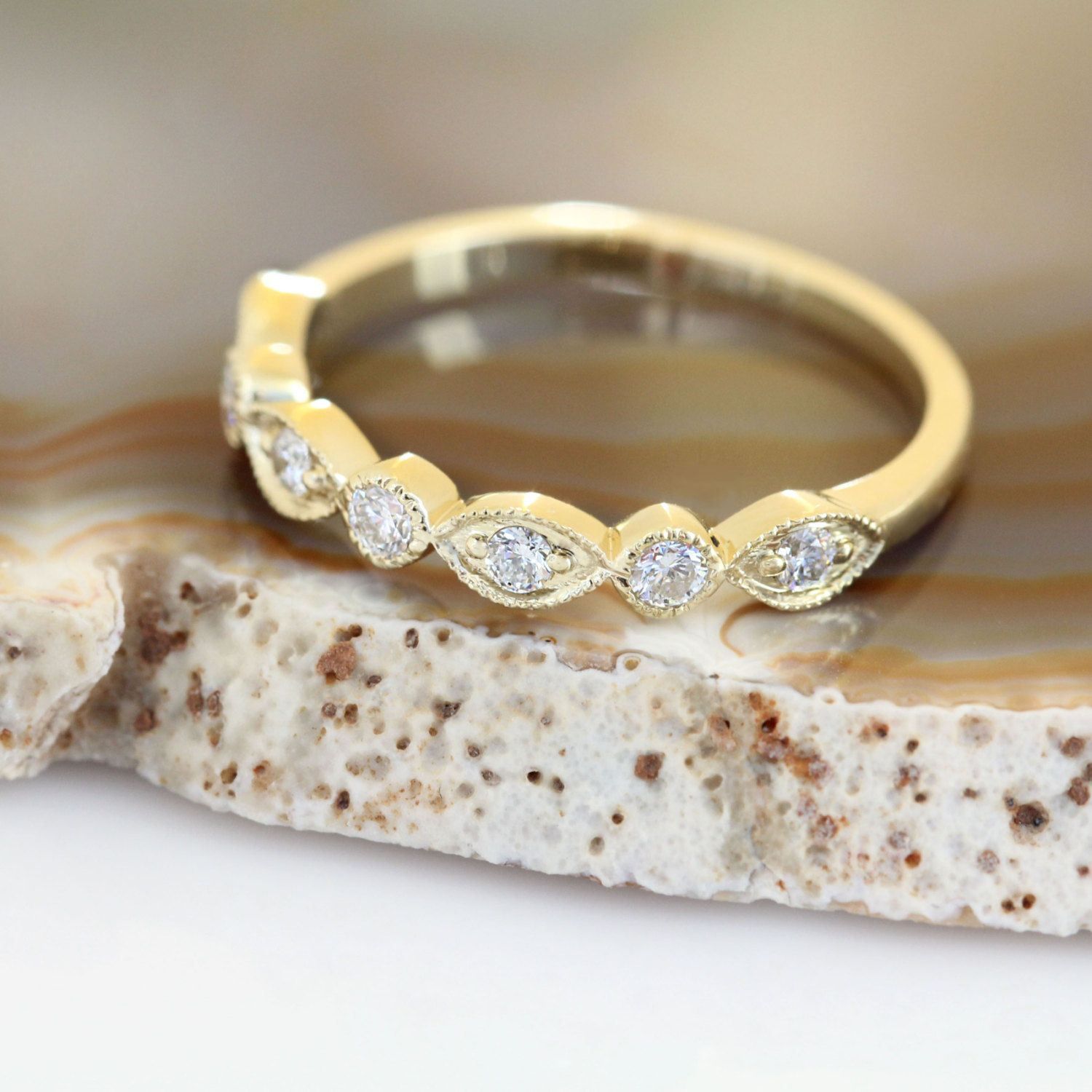 eternity more products rings gold la design milgrain yellow half by diamond wedding ring in band