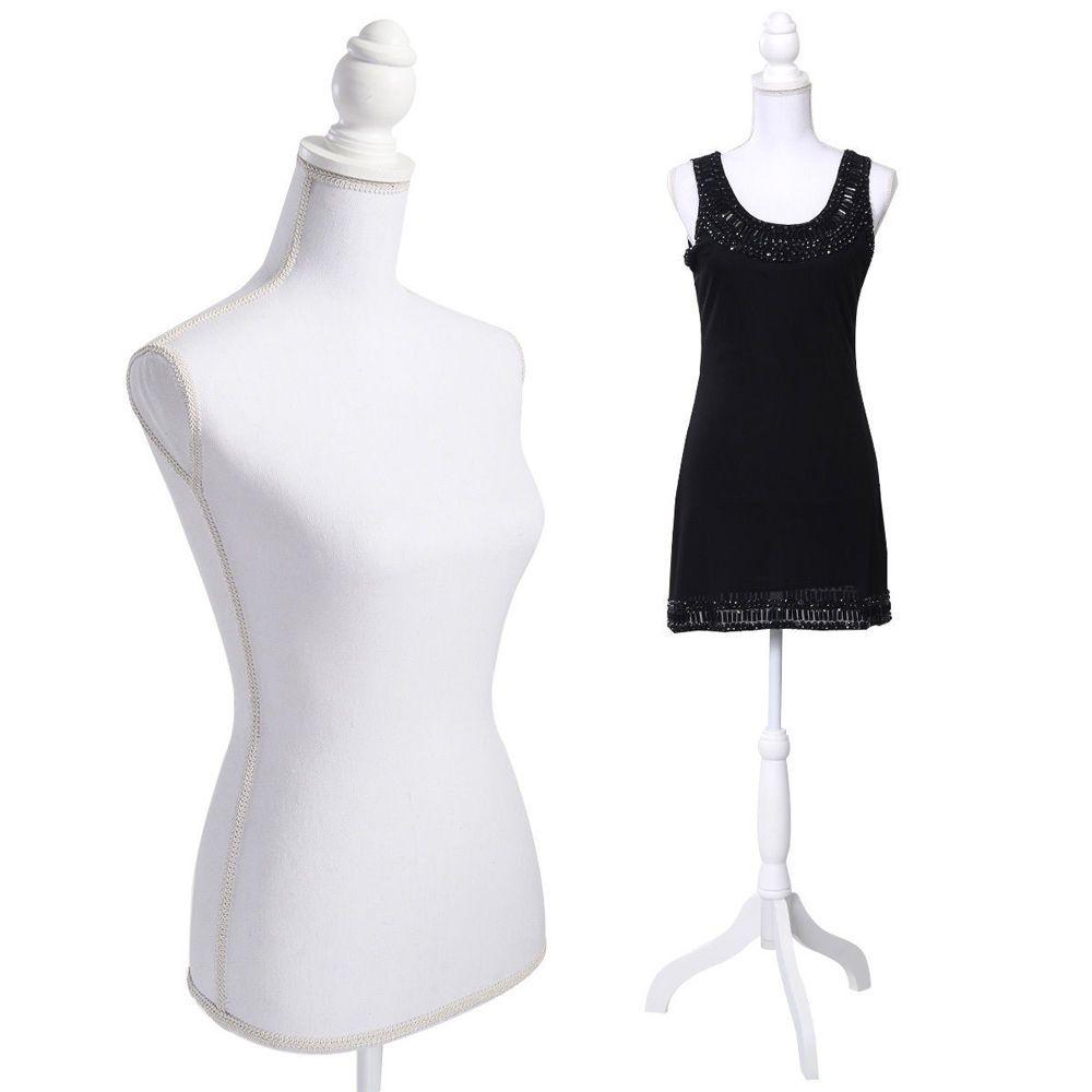 White HOMCOM Female Dress Form Mannequin Stand Torso Dressmaker Display Fashion Design Stand