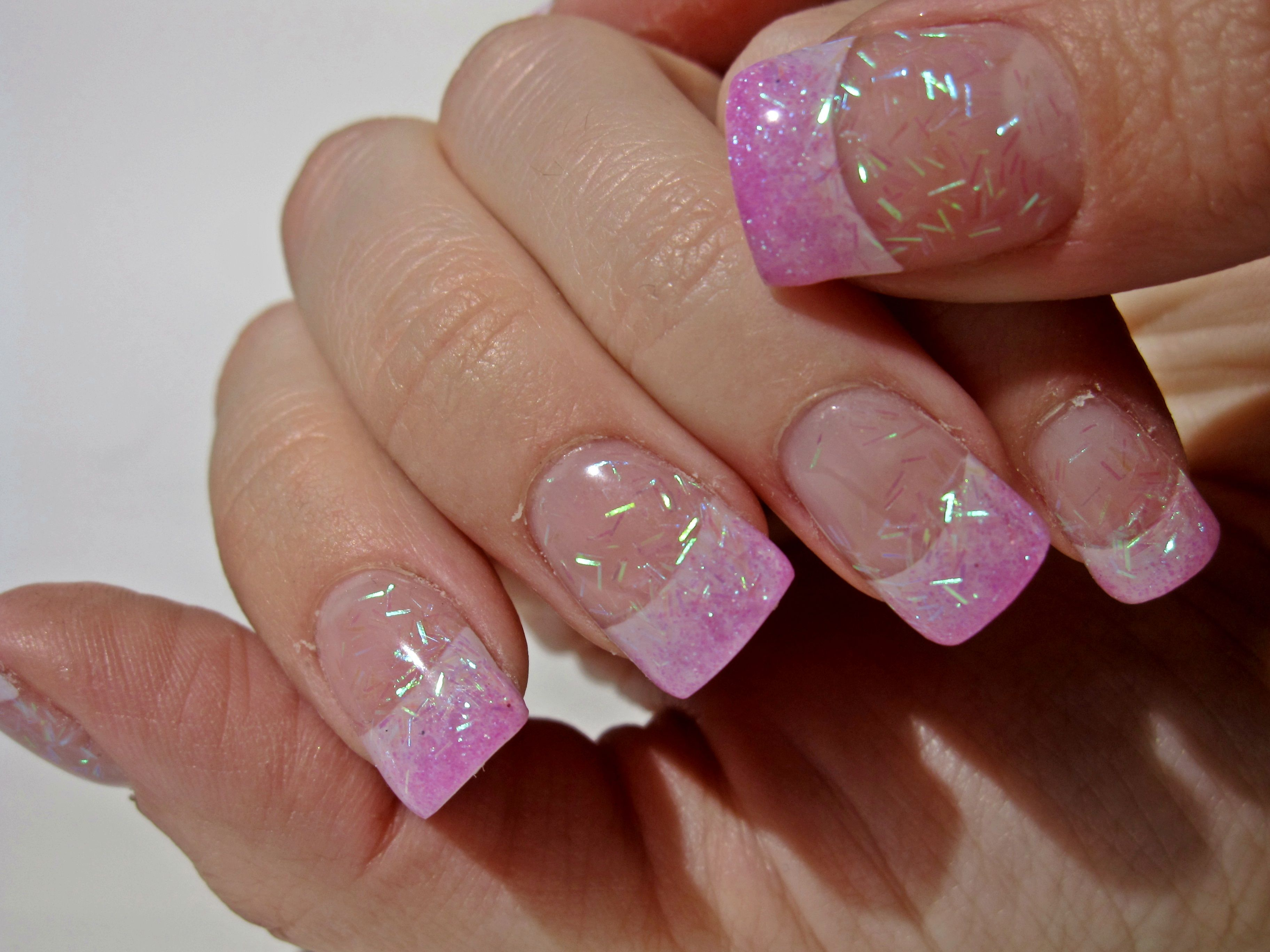 Iridescent Pink Glitter Fade Acrylic Clear Acrylic Nails Fake Nails Walmart Turquoise Nails