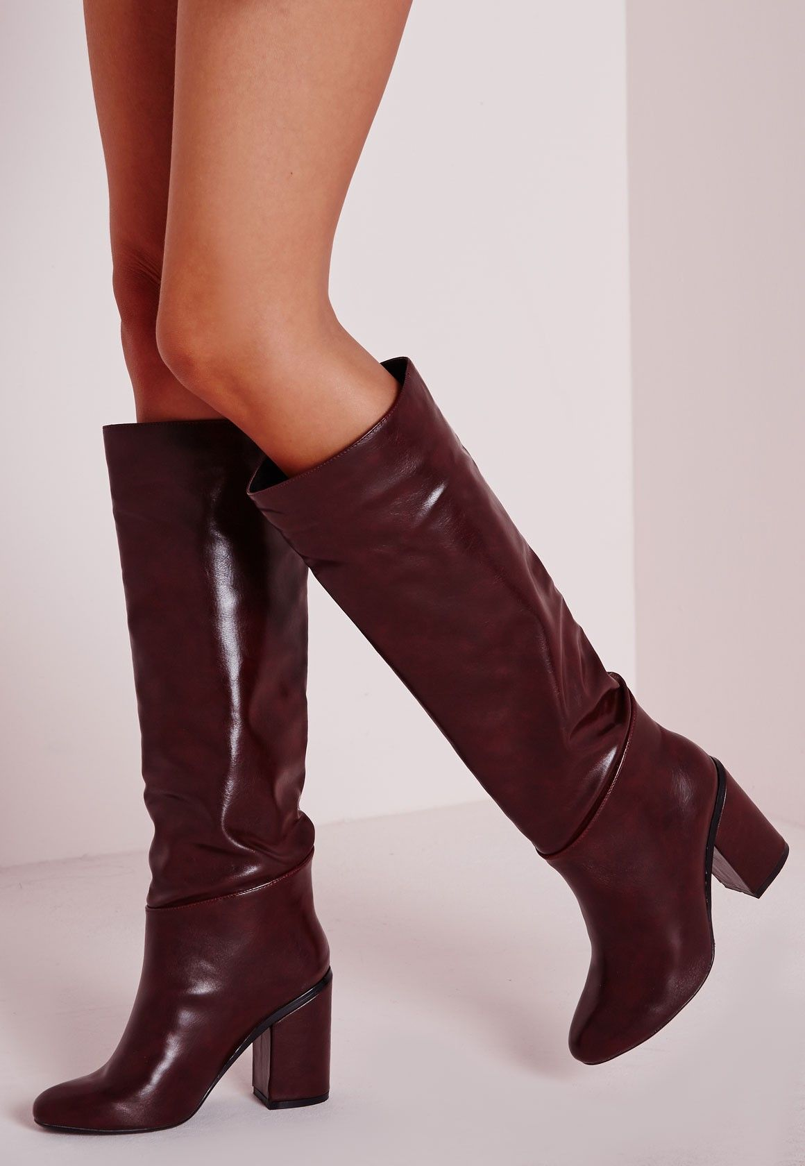 702474d572e Missguided - High Leg Patent Boots Burgundy 76.50