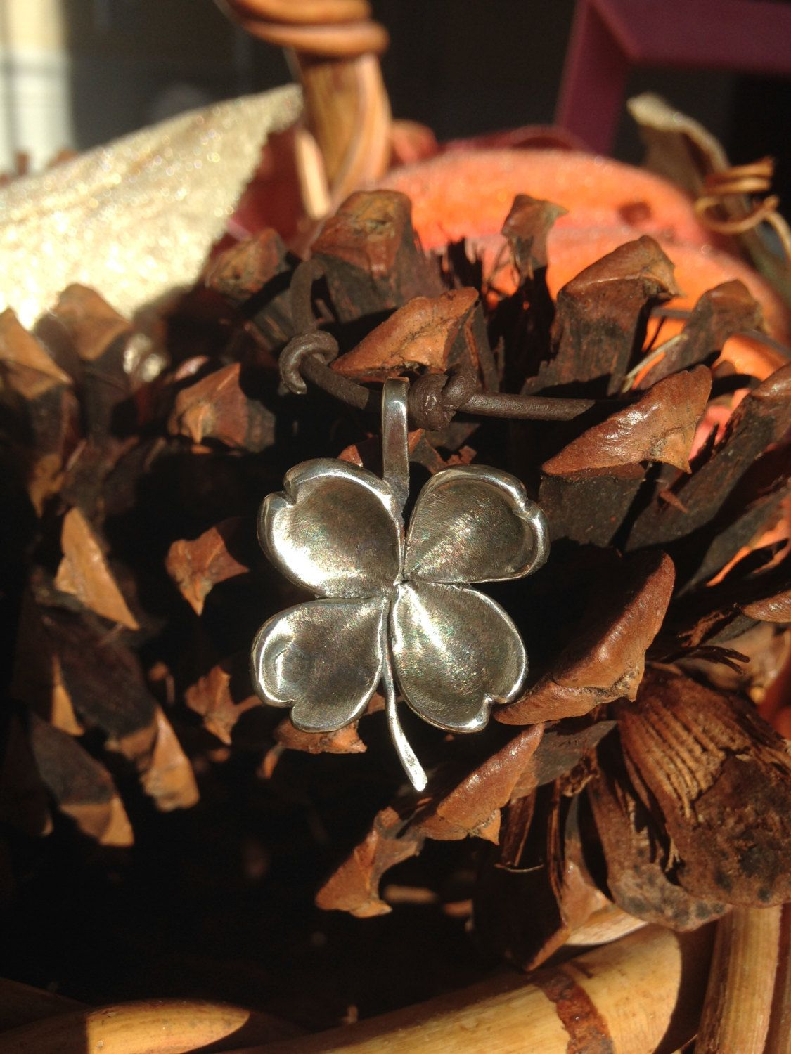 Sterling Silver Shamrock/ Four Leaf Clover Necklace with Leather Cord by CopperfoxGemsJewelry on Etsy https://www.etsy.com/listing/208315623/sterling-silver-shamrock-four-leaf