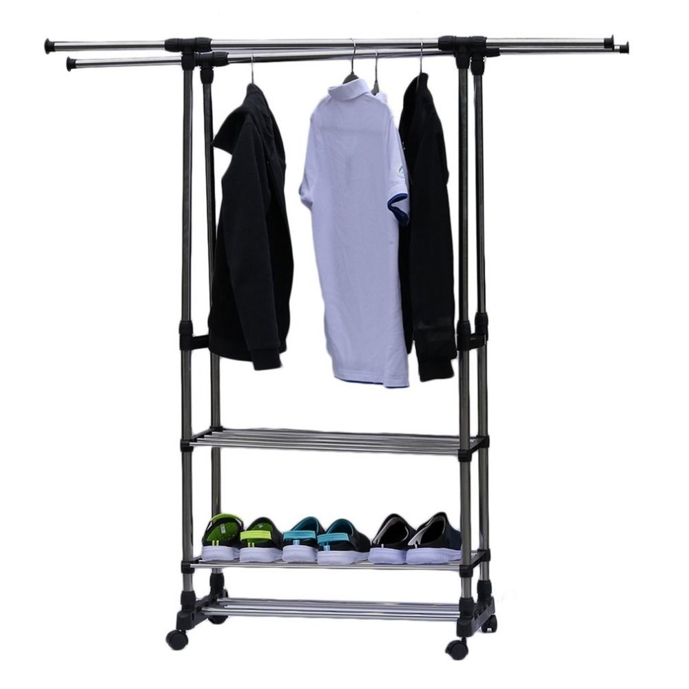 Adjustable Telescopic Rolling Clothing Garment Shoe Rack Portable Hanger On Wheels Heavy Duty Double Ra Rolling Garment Rack Clothing Rack Rolling Clothes Rack