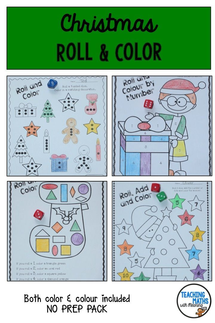 Christmas Roll and Color - Number and Shape Activities ...