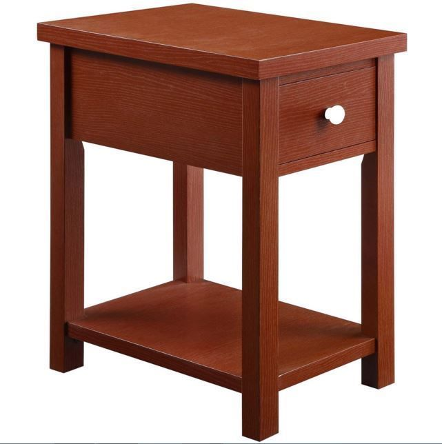 Wood End Table Accent Drawer Storage Side Coffee Shelf Living Room
