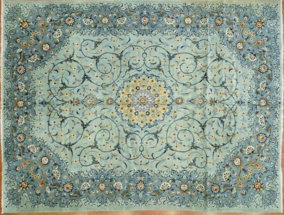 10 5 X 13 1 Beautiful Antique Oriental Rug Hand Knot Wool Blue Green Floral Mcm Ebay Antique Oriental Rugs Oriental Rug Antiques