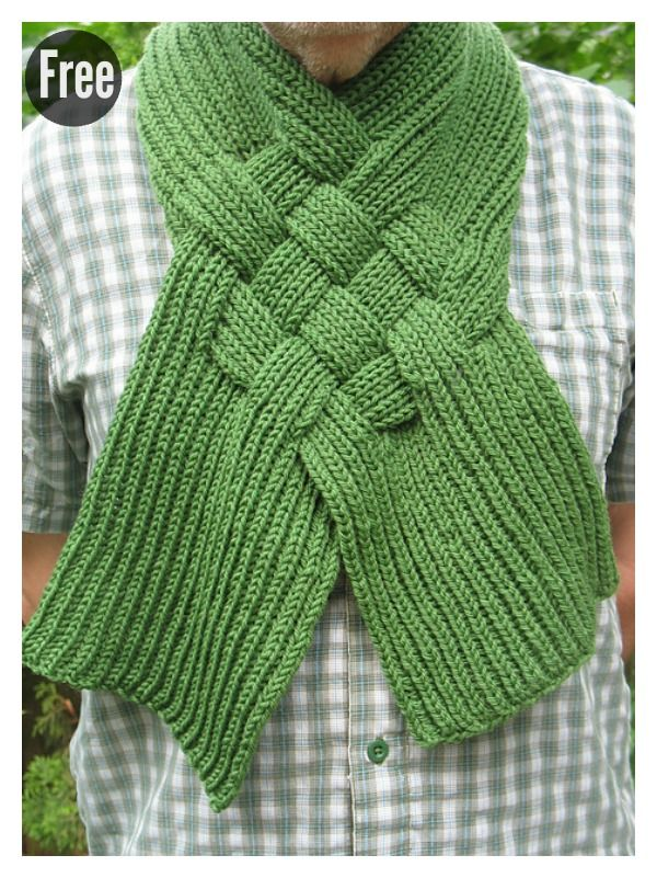 Beautiful Celtic Knot Looped Scarf Free Knitting Pattern Knitting