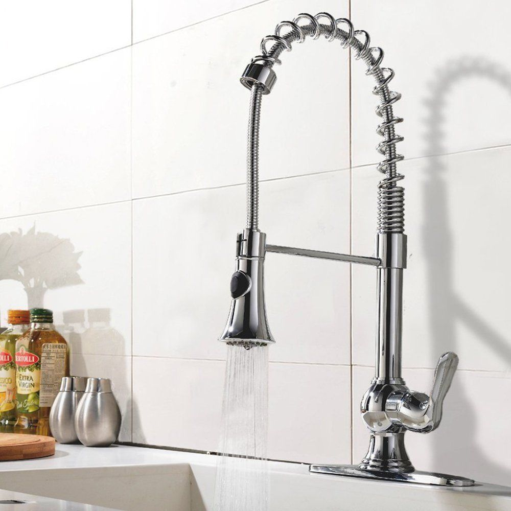 Ufaucet Modern High Arch Stainless Steel Plumbing Spiral Single ...