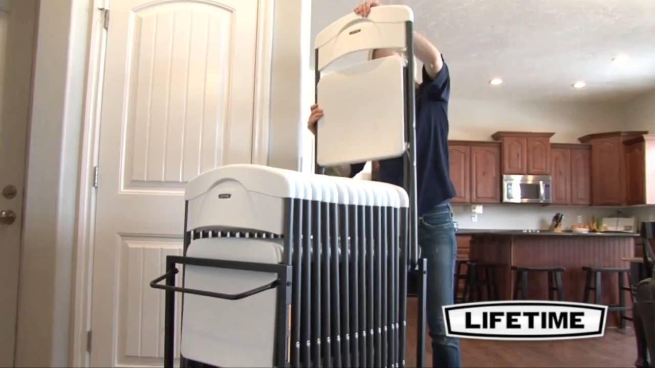 Lifetime 80279 Standing Folding Chair Storage Rack Cart Chair