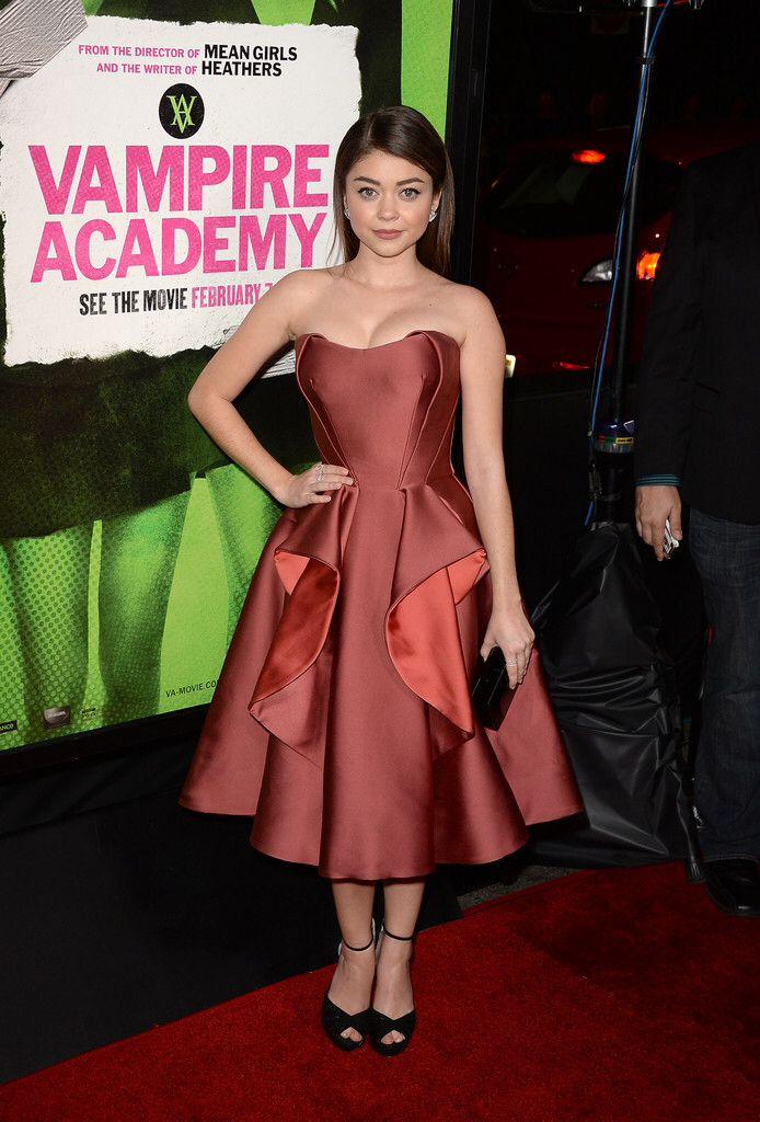 "Sarah Hyland in Zac Posen - ""Vampire Academy"" LA premiere"