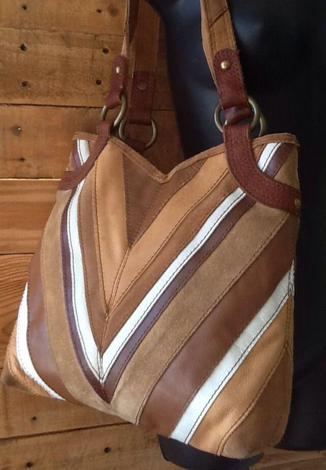 da97ff2b4563 Lucky Brand Vintage Inspire Chevron Stripe Suede Leather Hippie Hobo  Satchel Bag  LuckyBrand  Hobo