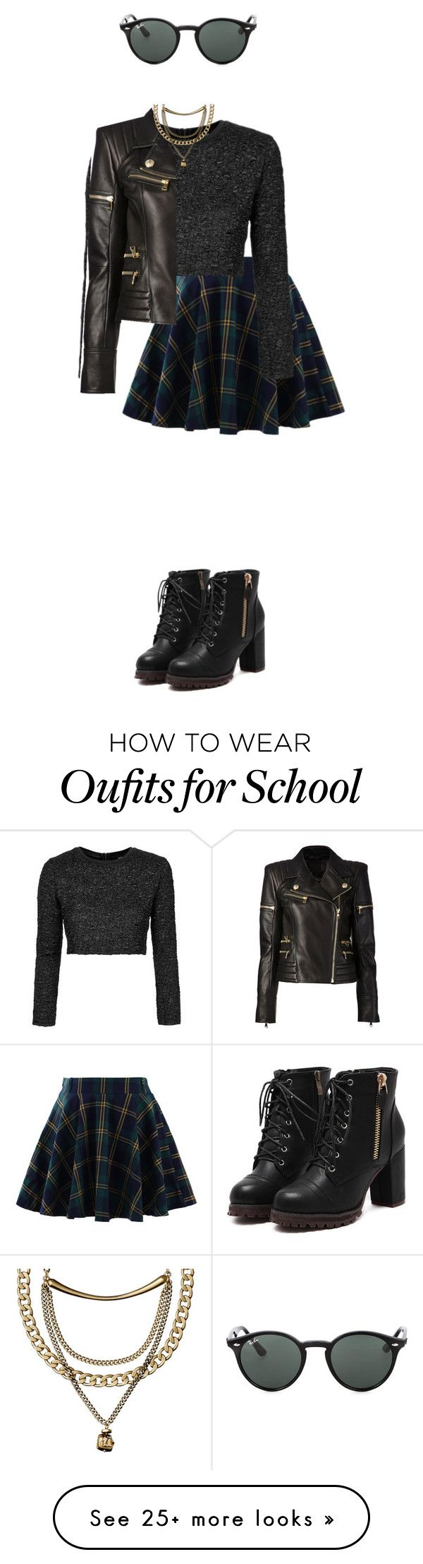 the school badass by sushi-brain on Polyvore featuring Chicwish, Topshop, Balmain and Ray-Ban