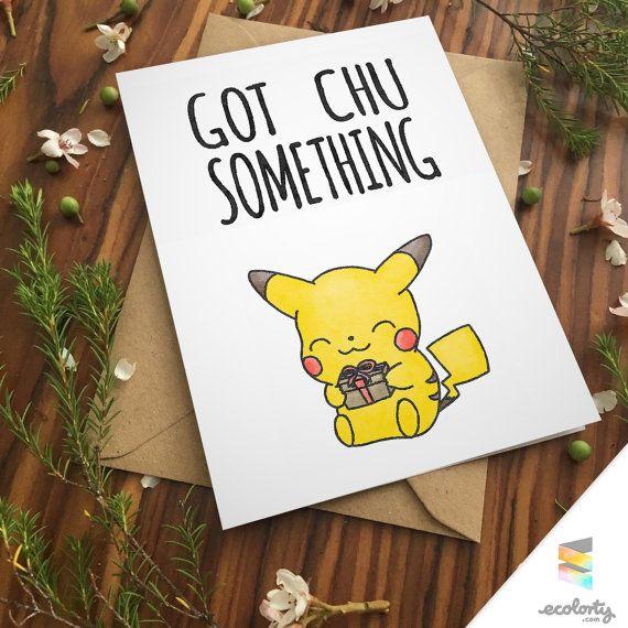 PIKACHU PUN BIRTHDAY Greeting Card Pun Bday Cute By Ecolorty