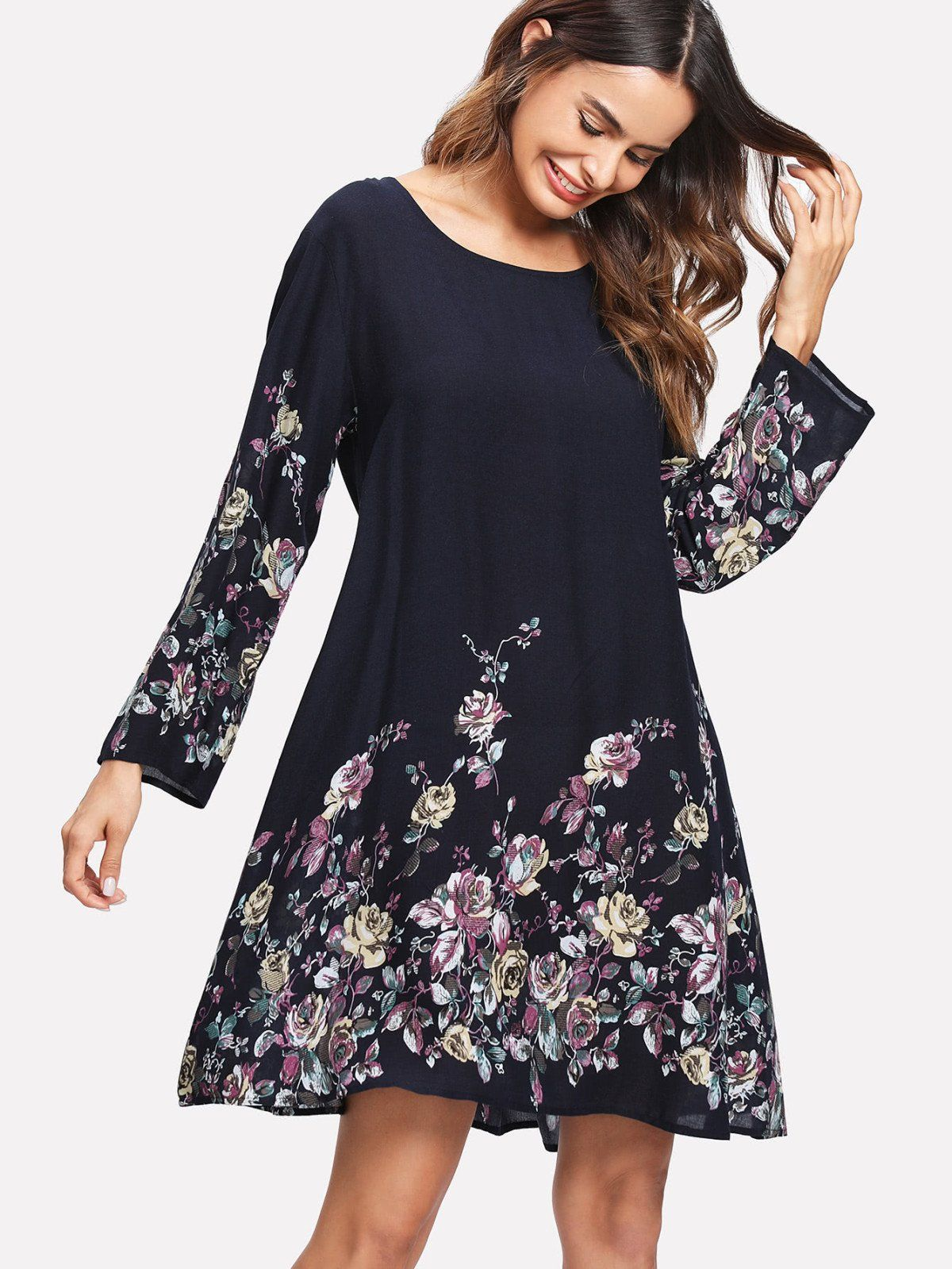 Long sleeve dresses to wear to a wedding  Rose Print Tunic Dress  Tunic designs Tunics and Casual wear