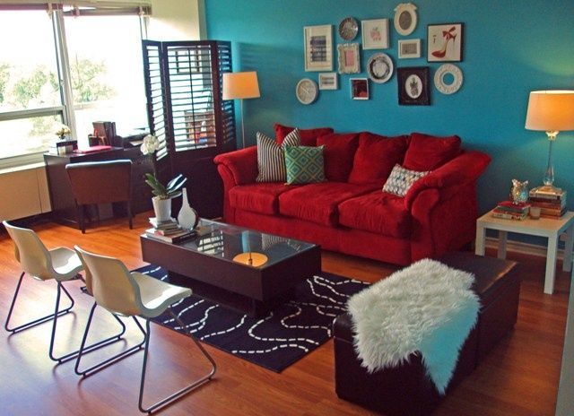 Inspiration For Bedroom. One Teal Accent One, Red Curtains, Grey Walls,  White