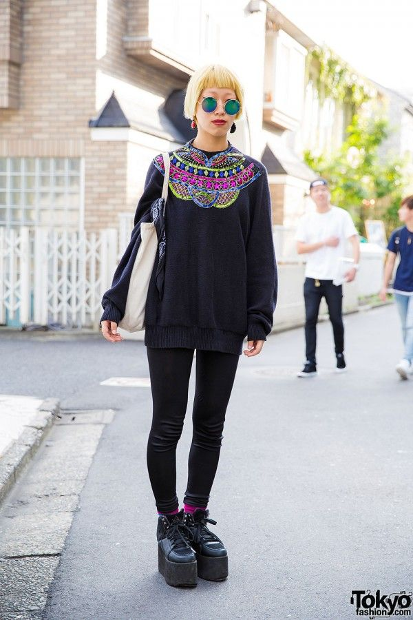 Sequin Sweater and round sunglasses | street style inspiration