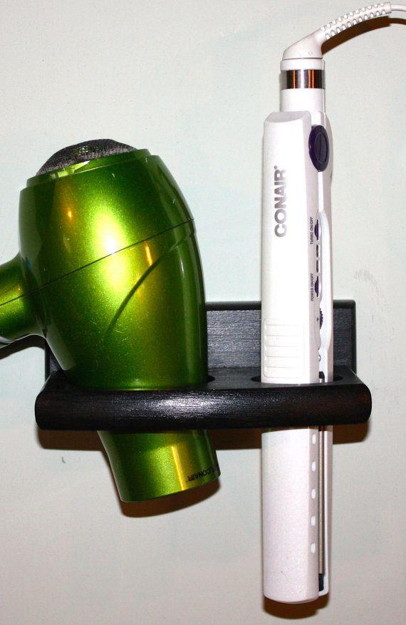 Bathroom Organizer Hair Blow Dryer Straightener Flat Iron Brush Holder Bath  Salon Storage 2 Hole Shelf