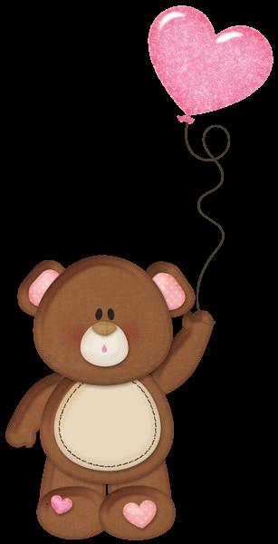 Brown Teddy With Pink Heart Balloon Png Clipart Balao Desenho Ursos Fofos Desenho De Urso