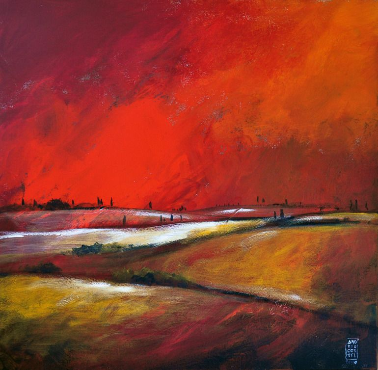 """Saatchi Online Artist: Alessandro Andreuccetti; Acrylic, 2011, Painting """"Colline sotto il cielo infuocato"""""""