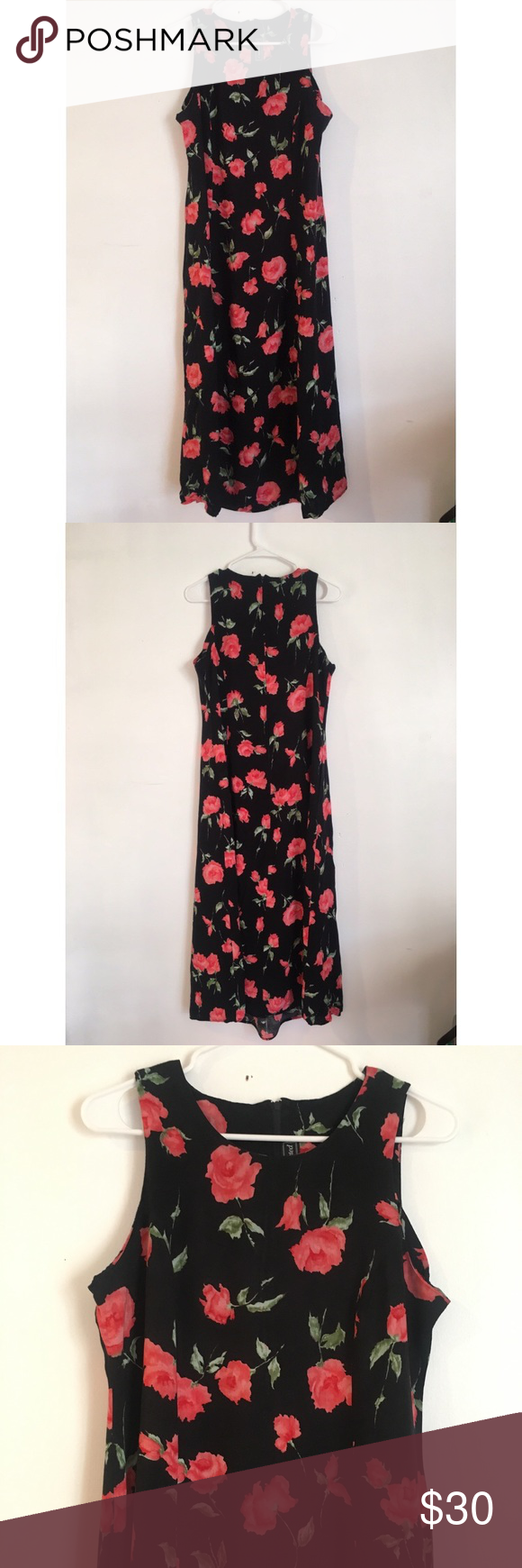 S vintage red floral maxi dress pinterest