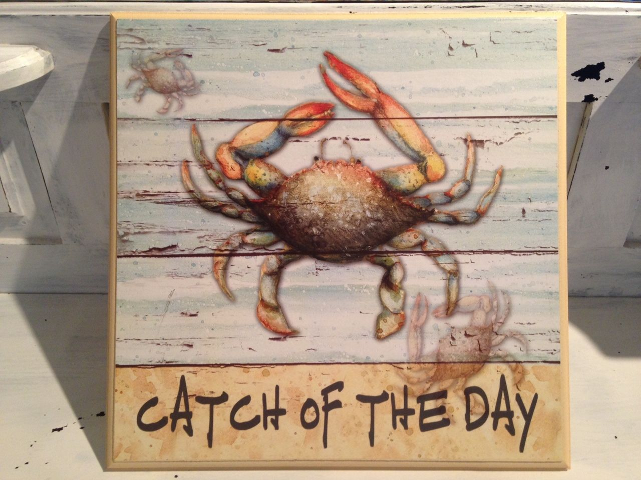 Catch of the Day Blue Crab Beach signs, Seashore decor