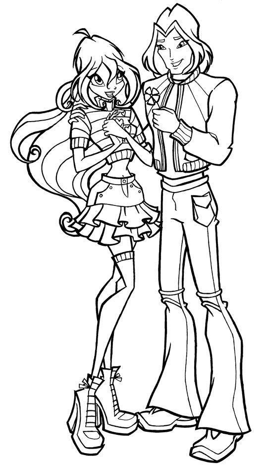 Winx Club Bloom And Sky Coloring Pages in 2020   Winx club ...