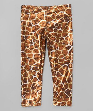 26edec170 Loving this Brown   Yellow Giraffe Leggings - Kids   Tween on  zulily!   zulilyfinds