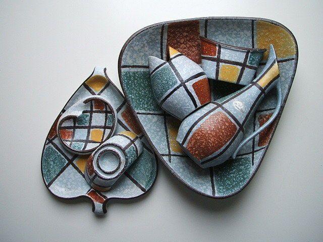 Ü-Keramik, Übelacker - Ensemble von 7 Keramik-Teilen im gleichen Dekor, 50iger | eBay