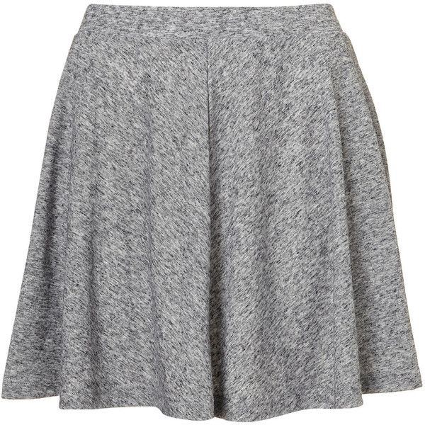 TOPSHOP Petite Grey Speckled Skirt ($32) ❤ liked on Polyvore featuring skirts, bottoms, grey marl, petite, skater skirt, gray skater skirt, flared skirt, gray skirt and grey skirt