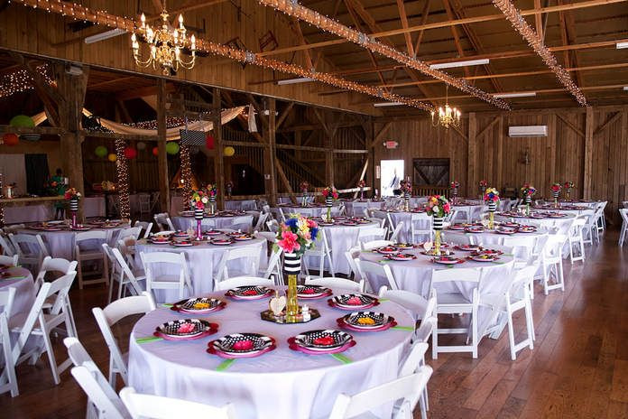 Barn Reception Decorations and Lights at Colorful Akron ...
