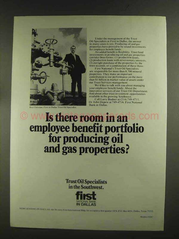 Hr Jobs In Dallas >> 1972 First National Bank In Dallas Ad Oil And Gas